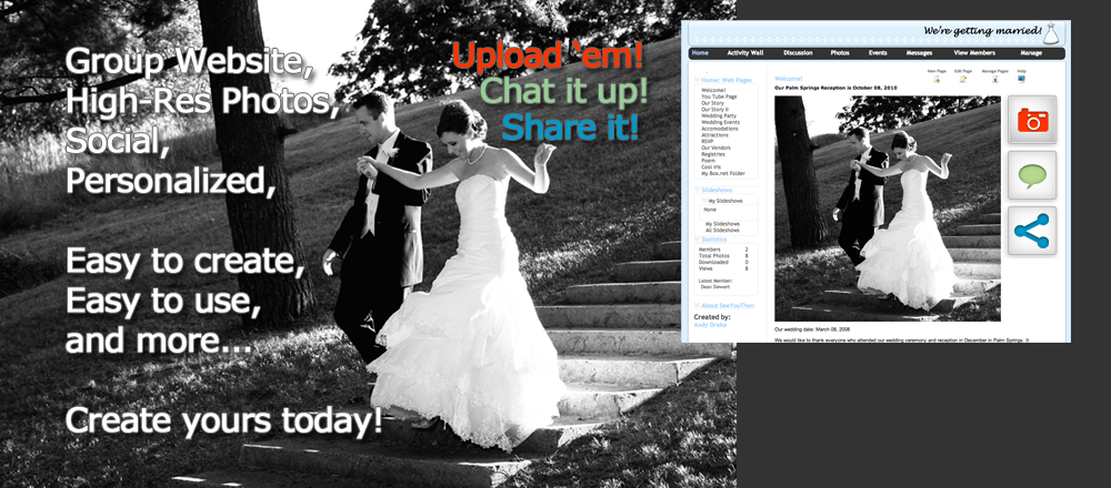 Create A Private Personalized Social Website For Your Wedding Friends Family And Guests Participate Free Everyone Can Upload Download